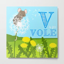 V is for Vole Metal Print