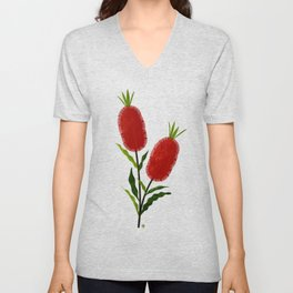 Australian Bottlebrush Red Flowers Unisex V-Neck