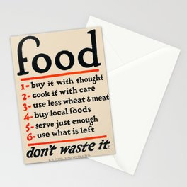 Food, Don't Waste It - WWI Poster, 1917 Stationery Cards