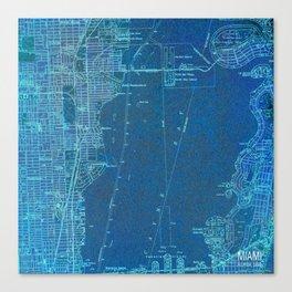 Miami Florida vintage map year 1950, blue usa maps Canvas Print