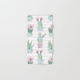 Cute Potted Cacti Stripe Pattern Hand & Bath Towel