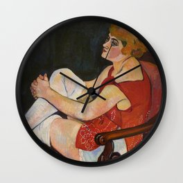 Suzanne Valadon Woman in White Stockings 1924 Wall Clock