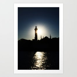 Sunset in Istanbul, view of Airkhapi Lighthouse and the Hagia Sophia Grand Mosque Art Print