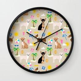 Chihuahua beach summer tropical cute chihuahuas dog gifts Wall Clock