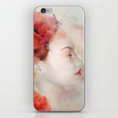 Woman with poppies - Watercolor portrait iPhone & iPod Skin