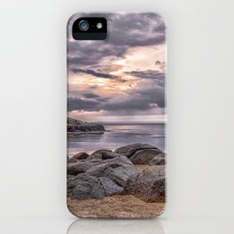 Cloudy beach sunset iPhone Case