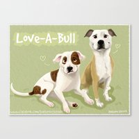 pit bull Canvas Prints featuring Love-A-Bull Pit Bull by Bark Point Studio