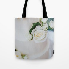 White Wedding Cake and Flowers Tote Bag