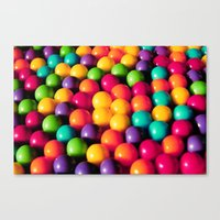 gumball Canvas Prints featuring Rainbow Candy: Gumballs by Whimsy Romance & Fun