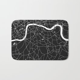 London Black on White Street Map Bath Mat