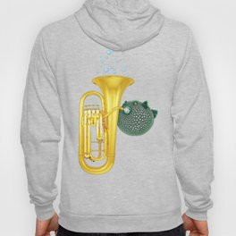 Puffer Fish Playing Tuba Hoody