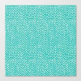 Hand Knit Aqua Canvas Print