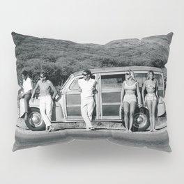Vintage Surfing Woody Wagon Pillow Sham