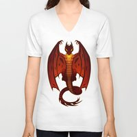 smaug V-neck T-shirts featuring The Hobbit- Smaug by prpldragon