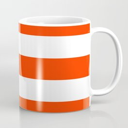 Electric orange - solid color - white stripes pattern Coffee Mug