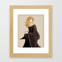Woman in Gold and Black Framed Art Print