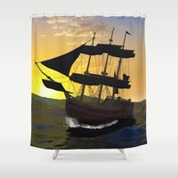 pirate ship Shower Curtains featuring Pirate ship  by nicky2342