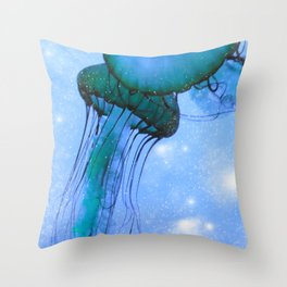 Blue Glow Jelly Fish Throw Pillow