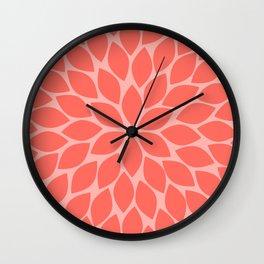 Coral Chrysanthemum Wall Clock