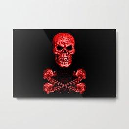 Skull And Crossbones Red Metal Print