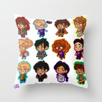 percy jackson Throw Pillows featuring Chibis of Olympus by chubunu