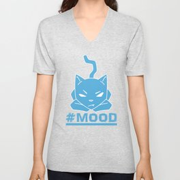 #MOOD Cat Blue Unisex V-Neck