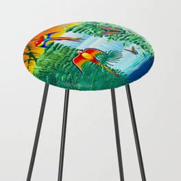 Waterfall Macaws and Butterflies on Exotic Landscape in the Jungle Naif Style Counter Stool