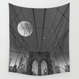 Blood Moon over Brooklyn Bridge and New York City Wall Tapestry