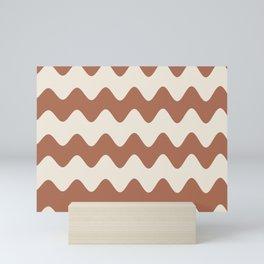 Cavern Clay SW 7701 and Creamy Off White SW7012 Wavy Horizontal Rippled Stripes Mini Art Print