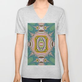Abstract with tribal floral patterns in blue, green, pink & yellow Unisex V-Neck