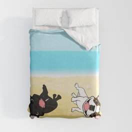 Frenchies Rolling In The Sand Duvet Cover