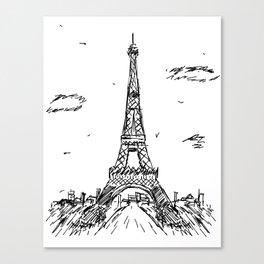 Paris Eiffel Tower Drawing Canvas Print