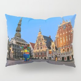 Photo Latvia Town square Riga Evening Street lights Houses Cities Sculptures Building Pillow Sham