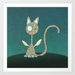 Winged polka-dotted beige cat Art Print