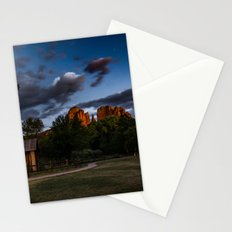 Travel Landscape Tapestries - Cathedral Rock in Sedona Arizona Sunset Glow Stationery Cards