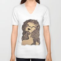 lions V-neck T-shirts featuring Lions by Zora Chen