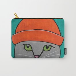 Striped-T-shirt Cat Portrait Original Acrylic on Canvas Painting Carry-All Pouch