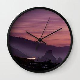 Gold Beach Sunset Wall Clock