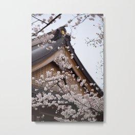 Sakura Temple Metal Print