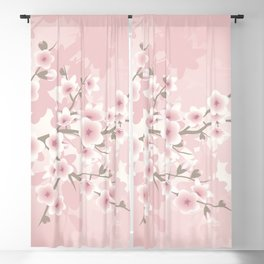 Vintage Floral Cherry Blossom Blackout Curtain
