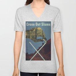 Vintage poster - Cross Out Slums Unisex V-Neck