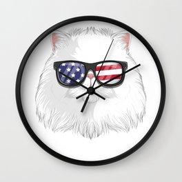 Patriotic Persian Cat Kitty Merica American Flag Wall Clock