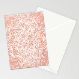 🤍, Mandala, Yoga Love, in, Peach, Boho Art Stationery Cards