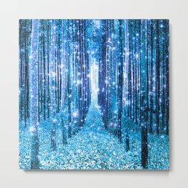 Magical Forest  Light Blue Turquoise Metal Print
