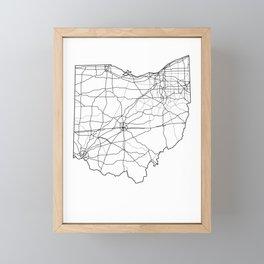 Ohio White Map Framed Mini Art Print