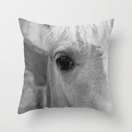 Black and White Horse Art Photography Throw Pillow