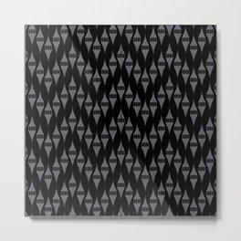 Art Deco 46 . Fishnet black gray zigzag . Metal Print