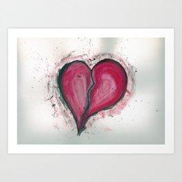 Cracked & Splattered Heart Art Print