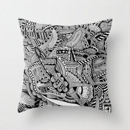 Black and White Doodle Art #2 Throw Pillow