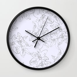 lavender line art floral pattern Wall Clock